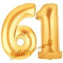 Luftballons aus Folie Zahl 61, Gold, 100 cm mit Helium zum 61. Geburtstag