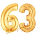 Luftballons aus Folie Zahl 63, Gold, 100 cm mit Helium zum 63. Geburtstag