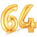 Luftballons aus Folie Zahl 64, Gold, 100 cm mit Helium zum 64. Geburtstag