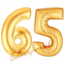 Luftballons aus Folie Zahl 65, Gold, 100 cm mit Helium zum 65. Geburtstag