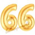 Luftballons aus Folie Zahl 66, Gold, 100 cm mit Helium zum 66. Geburtstag