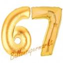 Luftballons aus Folie Zahl 67, Gold, 100 cm mit Helium zum 67. Geburtstag