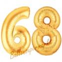Luftballons aus Folie Zahl 68, Gold, 100 cm mit Helium zum 68. Geburtstag