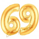 Luftballons aus Folie Zahl 69, Gold, 100 cm mit Helium zum 69. Geburtstag