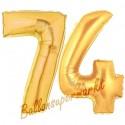 Luftballons aus Folie Zahl 74, Gold, 100 cm mit Helium zum 74. Geburtstag