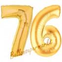 Luftballons aus Folie Zahl 76, Gold, 100 cm mit Helium zum 76. Geburtstag