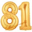 Luftballons aus Folie Zahl 81, Gold, 100 cm mit Helium zum 81. Geburtstag