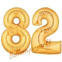 Luftballons aus Folie Zahl 82, Gold, 100 cm mit Helium zum 82. Geburtstag