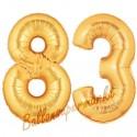 Luftballons aus Folie Zahl 83, Gold, 100 cm mit Helium zum 83. Geburtstag