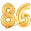 Luftballons aus Folie Zahl 86, Gold, 100 cm mit Helium zum 86. Geburtstag
