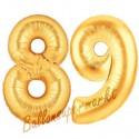 Luftballons aus Folie Zahl 89, Gold, 100 cm mit Helium zum 89. Geburtstag
