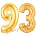 Luftballons aus Folie Zahl 93, Gold, 100 cm mit Helium zum 93. Geburtstag