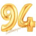 Luftballons aus Folie Zahl 94, Gold, 100 cm mit Helium zum 94. Geburtstag