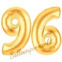 Luftballons aus Folie Zahl 96, Gold, 100 cm mit Helium zum 96. Geburtstag