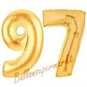 Luftballons aus Folie Zahl 97, Gold, 100 cm mit Helium zum 97. Geburtstag