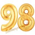 Luftballons aus Folie Zahl 98, Gold, 100 cm mit Helium zum 98. Geburtstag