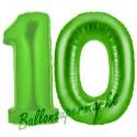 Luftballons aus Folie Zahl 10, Grün, 100 cm mit Helium zum 10. Geburtstag