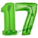 Luftballons aus Folie Zahl 17, Grün, 100 cm mit Helium zum 17. Geburtstag