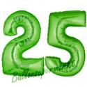 Luftballons aus Folie Zahl 25, Grün, 100 cm mit Helium zum 25. Geburtstag