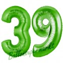 Luftballons aus Folie Zahl 39, Grün, 100 cm mit Helium zum 39. Geburtstag