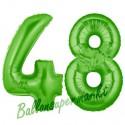 Luftballons aus Folie Zahl 48, Grün, 100 cm mit Helium zum 48. Geburtstag