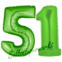 Luftballons aus Folie Zahl 51, Grün, 100 cm mit Helium zum 51. Geburtstag