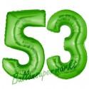 Luftballons aus Folie Zahl 53, Grün, 100 cm mit Helium zum 53. Geburtstag