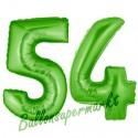 Luftballons aus Folie Zahl 54, Grün, 100 cm mit Helium zum 54. Geburtstag