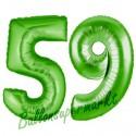 Luftballons aus Folie Zahl 59, Grün, 100 cm mit Helium zum 59. Geburtstag