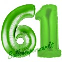 Luftballons aus Folie Zahl 61 Grün, 100 cm mit Helium zum 61. Geburtstag