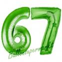 Luftballons aus Folie Zahl 67, Grün, 100 cm mit Helium zum 67. Geburtstag