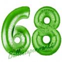 Luftballons aus Folie Zahl 68, Grün, 100 cm mit Helium zum 68. Geburtstag