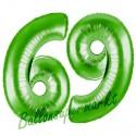 Luftballons aus Folie Zahl 69, Grün, 100 cm mit Helium zum 69. Geburtstag