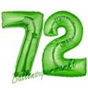 Luftballons aus Folie Zahl 72, Grün, 100 cm mit Helium zum 72. Geburtstag