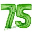 Luftballons aus Folie Zahl 75, Grün, 100 cm mit Helium zum 75. Geburtstag