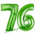 Luftballons aus Folie Zahl 76, Grün, 100 cm mit Helium zum 76. Geburtstag