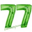Luftballons aus Folie Zahl 77, Grün, 100 cm mit Helium zum 77. Geburtstag