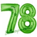 Luftballons aus Folie Zahl 78, Grün, 100 cm mit Helium zum 78. Geburtstag