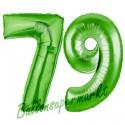 Luftballons aus Folie Zahl 79, Grün, 100 cm mit Helium zum 79. Geburtstag