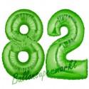Luftballons aus Folie Zahl 82, Grün, 100 cm mit Helium zum 82. Geburtstag