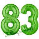 Luftballons aus Folie Zahl 83, Grün, 100 cm mit Helium zum 83. Geburtstag