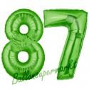 Luftballons aus Folie Zahl 87, Grün, 100 cm mit Helium zum 87. Geburtstag