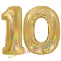 Luftballons aus Folie Zahl 10, Gold, holografisch, 100 cm mit Helium zum 10. Geburtstag