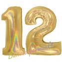 Luftballons aus Folie Zahl 12, Gold, holografisch, 100 cm mit Helium zum 12. Geburtstag