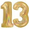 Luftballons aus Folie Zahl 13, Gold, holografisch, 100 cm mit Helium zum 13. Geburtstag