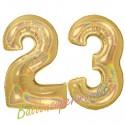 Luftballons aus Folie Zahl 23, Gold, holografisch, 100 cm mit Helium zum 23. Geburtstag