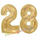 Luftballons aus Folie Zahl 28, Gold, holografisch, 100 cm mit Helium zum 28. Geburtstag