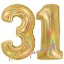 Luftballons aus Folie Zahl 31, Gold, holografisch, 100 cm mit Helium zum 31. Geburtstag