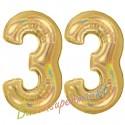 Luftballons aus Folie Zahl 33, Gold, holografisch, 100 cm mit Helium zum 33. Geburtstag