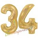 Luftballons aus Folie Zahl 34, Gold, holografisch, 100 cm mit Helium zum 34. Geburtstag